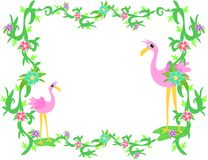 Frame of Tropical Flamingos and Plants Royalty Free Stock Photos