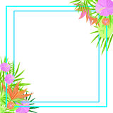 Frame. Tropical flowers  exotic invitation birthday botanist leaves color print design postcard jungle hawaii party business card square branch flora bouquet Stock Photo