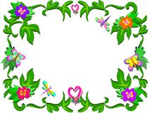 Frame of Tropical Flowers and Hearts Stock Photo