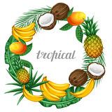 Frame with tropical fruits and leaves. Design for advertising booklets, labels, packaging, menu Royalty Free Stock Photography