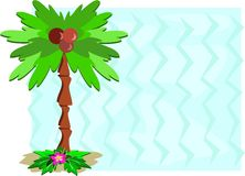 Frame with Tropical Palm and Zig Zag Background Stock Image