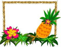 Frame of Tropical Pineapple and Flower Royalty Free Stock Photography