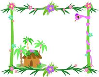 Frame of Tropical Plants, Snake, and Hut Stock Photo