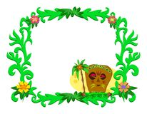 Frame of Tropical Plants and Tiki Royalty Free Stock Photography