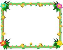 Frame of Tropical Plants and Wood Stock Images