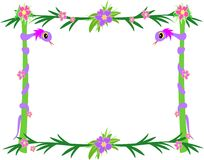 Frame of Tropical Snakes, Poles, and Flowers Royalty Free Stock Image