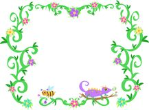 Frame of Tropical Vines, Bee, and Lizard Stock Photos