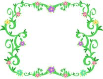 Frame of Tropical Vines and Flowers Royalty Free Stock Images