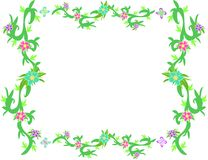 Frame of Tropical Vines, Flowers, and Leaves. Here is a vibrant frame of tropical plants and styles, and gentle butterflies in each corner Royalty Free Stock Images