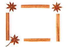 Frame of truestar anisetree and cinnamon. On white background Royalty Free Stock Images