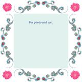 Frame of turquoise plants with pink flowers in the corners. stock illustration