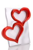 Frame, twee hartvorm die op wit wordt geïsoleerd¯ Royalty-vrije Stock Fotografie
