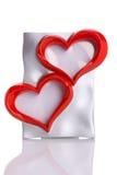 Frame, twee hartvorm die op wit wordt geïsoleerde Stock Afbeelding