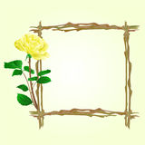 The frame from twigs with yellow rose vector Stock Photos