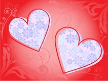 Frame of two hearts Royalty Free Stock Images