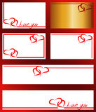 Frame with two hearts for Valentine's Day on a white background Royalty Free Stock Image