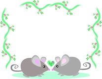 Frame of Two Loving Mice Royalty Free Stock Images