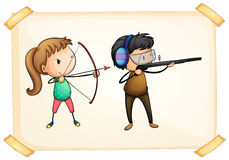 A frame with two people playing archery Royalty Free Stock Photography