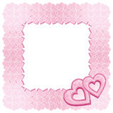 A frame of two pink diamond hearts. A patterned square frame of two pink diamond hearts Vector Illustration