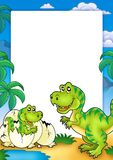 Frame with tyrannosaurus rex. Color illustration Royalty Free Stock Photo