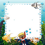 Frame. Under water design square frame Royalty Free Stock Images