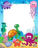 Frame with underwater animals 3 Royalty Free Stock Image