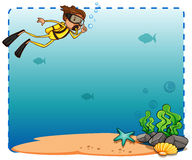 Frame. Underwater creature and diver frame on white background Royalty Free Stock Photo