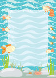Frame with an underwater scenery.  Royalty Free Stock Photos