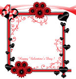Frame for Valentine's Day. Colorful frame decorated with hearts and red flowers. Valentine's Day frame Royalty Free Stock Images