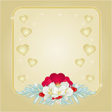 Frame Valentines day hearts and jasmine background vector Stock Photo