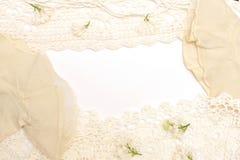 Frame van bloemen, parels en kant Stock Afbeeldingen