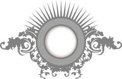 Frame van de Krommen van de elegantie het Zilveren Grijze Bloemen Stock Foto