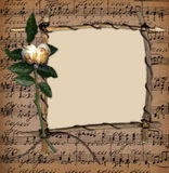 Frame van de tak op de muziekachtergrond met nam toe Royalty-vrije Stock Fotografie