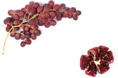 Frame van druif en granaatappel Stock Afbeelding