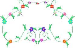 Frame van Gevoelige Wijnstokken, Bloemen, en Libel vector illustratie