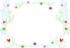 Frame van Harten, Bloemen, en Wervelingen Stock Afbeeldingen