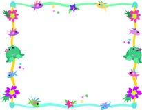 Frame van Kikker, Vissen, Bloemen, en Sterren Stock Afbeeldingen