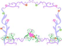 Frame van Lichtpaarse Wervelingen en Bloemen Royalty-vrije Stock Fotografie