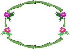Frame van Tropische Bamboe en Bloemen Stock Afbeelding