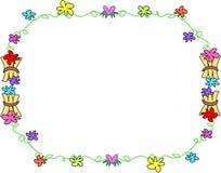Frame van Tropische Bloemen en Houten Bundels Royalty-vrije Stock Afbeeldingen
