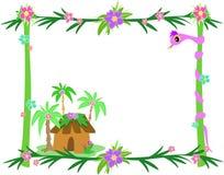 Frame van Tropische Installaties, Slang, en Hut royalty-vrije illustratie