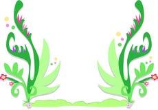 Frame van Tropische Varenbladen, Bloemen, en Bellen Royalty-vrije Stock Afbeeldingen