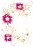 Frame van wervelingsornament en bloemen Stock Afbeelding
