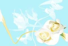 Frame van witte rozen op blauwe achtergrond Stock Fotografie