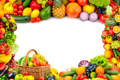 Frame from a variety of vegetables and fruits. Isolated space in the middle stock image