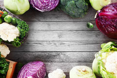 Frame of various brassica cabbage family varieties Royalty Free Stock Images