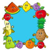 Frame with various cartoon fruits Royalty Free Stock Photo