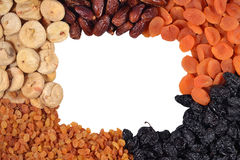 Frame of various dried fruits Stock Images
