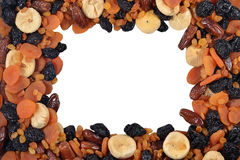 Frame of various dried fruits Royalty Free Stock Photos