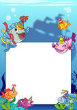 Frame with various fish. To be used as an invitation, letter or other kind of notice Royalty Free Stock Photography
